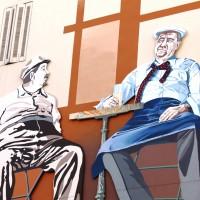 Fresque de la partie de cartes de Pagnol à Toulon